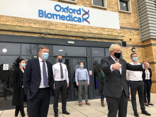 Prime Minister Boris Johnson formally opens Oxford Biomedica's manufacturing facility Oxbox